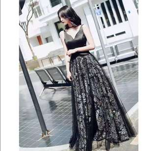 New High-end Black embroidery sexy backless dress