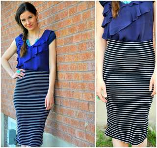 Cotton On Striped Midi Skirt