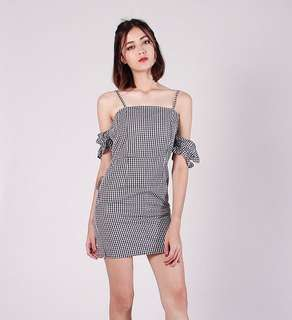 [PO] Bandana Gingham Off Shoulder Dress