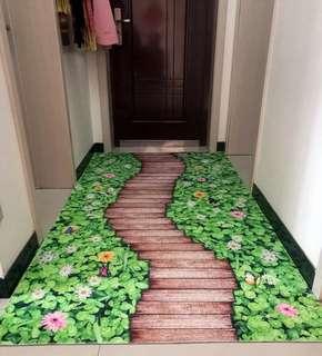 3D Floral Entrance Hallway Aisle Anti Slip Large Carpet