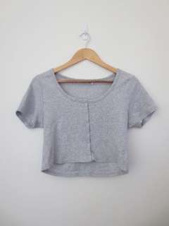 Grey Button Crop Top Size Large