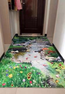 3D Floral River Koi Fishes Entrance Hallway Aisle Anti Slip Large Carpet