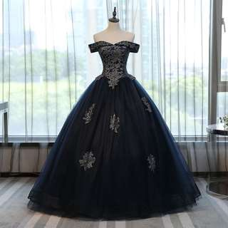 Gown Collection - Elegant Navy Blue T-Off Shoulder Style Puffy Gown