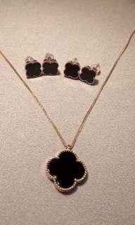 icy black Jadeite Ring / earring 18k gold