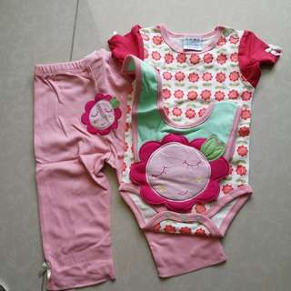 Baby Girl Romper set with long pants and bip