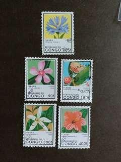 剛果郵票 花卉已銷郵票