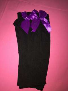 Purple ribbon ankle black socking