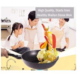 Wajan Royal Maifan 32Cm Wok Enamel Anti Gosong Anti Lengket
