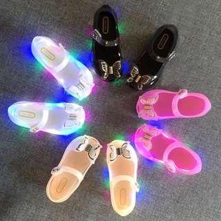 LED Lightning Bow Princess Jelly Sandals