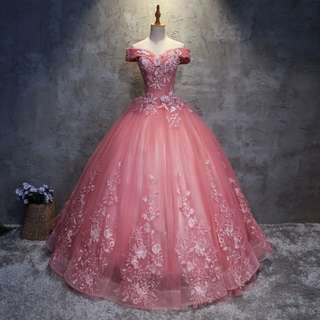 Gown Collection - Sweet Pinkie T-Off Shoulder Style Event Puffy Gown