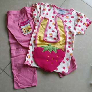 Baby Girl Romper set with long pants and bip #20under