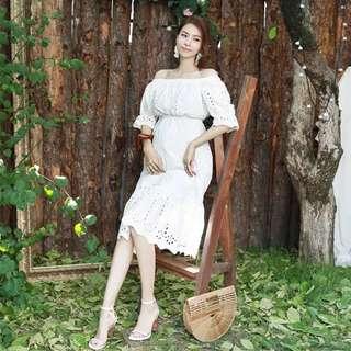 {BELLYNICE} Maternity White Crochet Dress