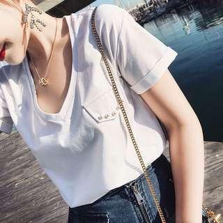 Minimei追加款✪特價2件1000韓系韓版百搭休閒白色v領t恤女純色簡約半袖體恤上衣夏季新品寬鬆韓版T恤