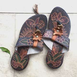 Hand-painted Bali leather sandals