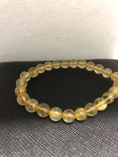 Natural Gold Rutilated Quartz Bracelet 6.5mm+ 高品质金发晶