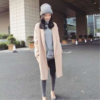 2017秋冬新款韓版毛呢外套中長款加厚修身顯瘦大衣 全新二手品