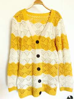 芥末黃 橫條 針織外套 薄外套