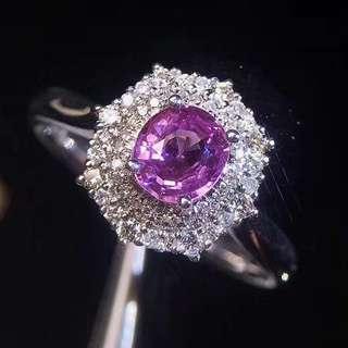 18K白金 粉藍寶鑽石戒指