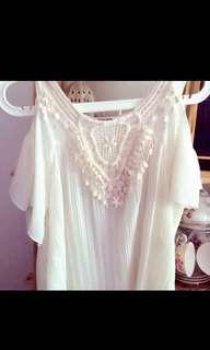 White Pleated Offshoulder Top