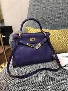 Hermes Kelly 28 紫色金扣 Togo 皮