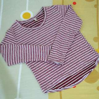 Korean style casual striped top
