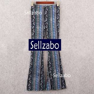 Bell Bottom : Free Size Leggings Long Pants Blue Black Tribal Sellzabo #S148 Ladies Girls Women Female Lady Muslim Muslimah Malays Indians