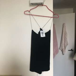 T by Alexander Wang strappy black cami stop