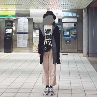 深藍開襟連帽針織外套