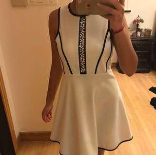 Beautiful white crystal flare dress