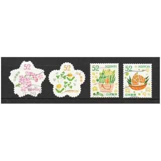 JAPAN 2017 SPRING GREETINGS (FLOWERS) 52 COMP. SET OF 4 STAMPS IN FINE USED CONDITION