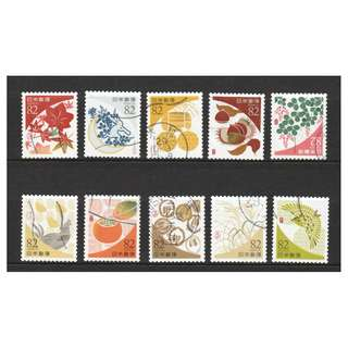 JAPAN 2017 TRADITIONAL COLOUR SERIES 1 (AUTUMN) 82 YEN COMP. SET OF 10 STAMPS IN FINE USED CONDITION