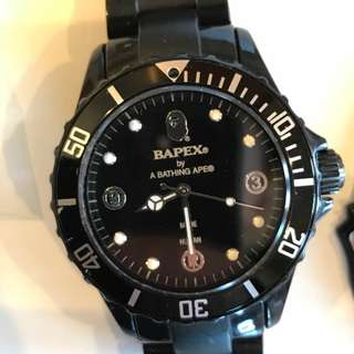猿力士 A BATHING APE BAPE bapex CLEAR 黑 手錶