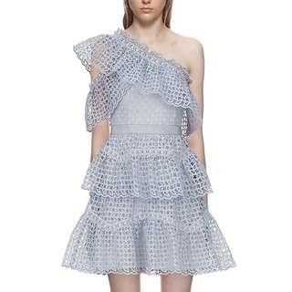 One side off shoulder blue lace frill dress