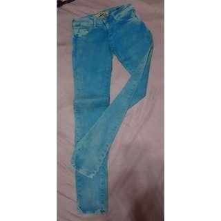 Zara skinny藍色水洗染色窄管牛仔褲