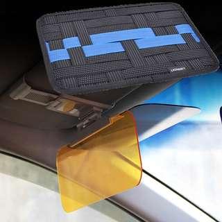 Vehicle Sunshade Sun Visor Anti-glare Clip-on Light Filter Pad Auto Sunglass Screen Shading Plates with Elastic Binding Organizer Container Gadget Dock Board