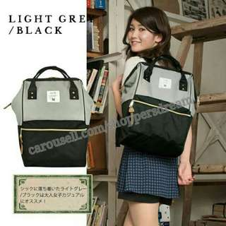 ✳ Grey Black Authentic Anello Canvas Backpack