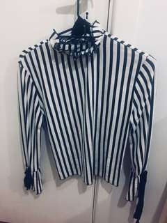 Zara open back blouse