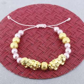 AUTIUM Pixiu Qilin 999 Pure gold bracelet with pink mother of pearl