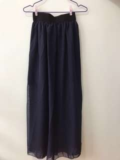 pleated chiffon skirt (navy blue)