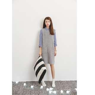 韩國學院風百搭圓領無袖毛絨背心裙女慵懒寬鬆開岔針織連衣裙