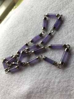 滿紫冰種紫羅蘭天然翡翠頸項925眼鑲嵌