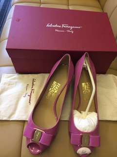 New Authentic Ferragamo Pink patent leather in size 9