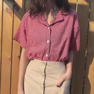 GINGHAM KIT BUTTON TOP