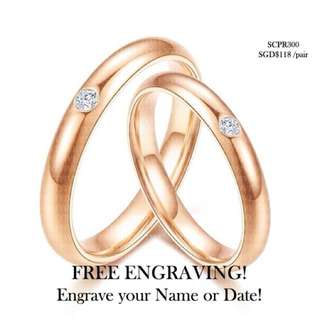 SCPR-300 • ROMANCE Rose Gold Wedding Love Band Rings• FIXED SIZE • STAINLESS STEEL