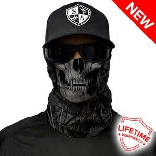 SA Co. Face Shield: Forest Camo Skull Blackout