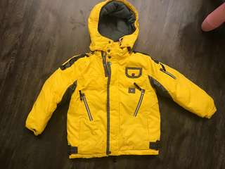 Bright yellow jacket from winter time