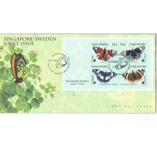 FDC #233    Singapore-Sweden Joint Issue - BUTTERFLIES