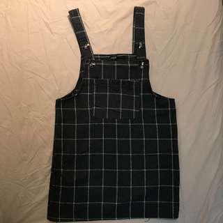 CACO 深灰法蘭絨格紋吊帶裙