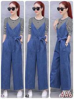 Jeans overall plus stripe top ; f@