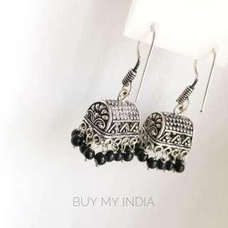 *買買印度*【現貨】黑色珠珠 特殊小方形Jhumka 民族風 耳環